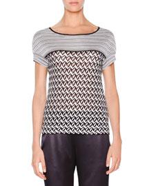 Zigzag-Knit Short-Sleeve Sweater