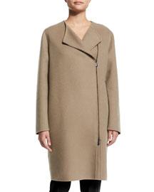 Asymmetric Zip-Front Cashmere Coat, Tan