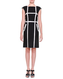 Windowpane Wool-Blend Cap-Sleeve Sheath Dress