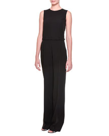Button-Off Top Pleated Jumpsuit, Nero