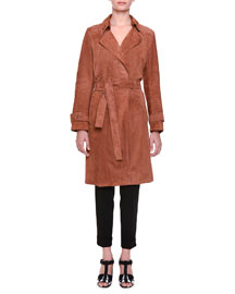 Belted Suede Trench Coat, Toscana
