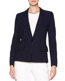 Striped Seersucker One-Button Jacket, Navy