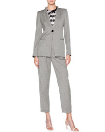 Wool-Blend One-Button Jacket, Gray/Black