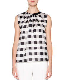 Check-Print Silk Sleeveless Top, Black/White