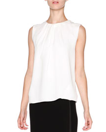 Silk Crepe Pleated Sleeveless Top, Off White
