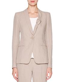Knot-Collar Linen One-Button Jacket, Sand