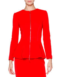 New Ottoman Zip-Front Jacket, Coral Red