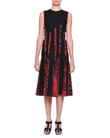 Circle-Print Silk Godet-Pleated Dress