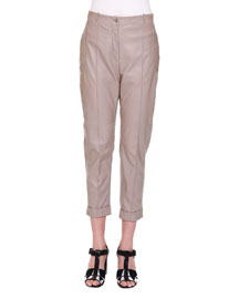 Cropped Leather Trousers, Toffee