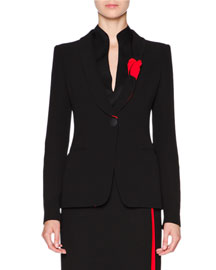 Silk Cady One-Button Jacket, Black/Red