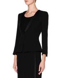 Silk Cady Three-Quarter-Sleeve Jacket, Black