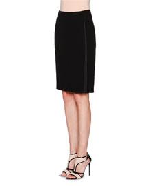 Silk Cady Faux-Wrap Skirt, Black