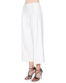 Cropped Wide-Leg Pants, White