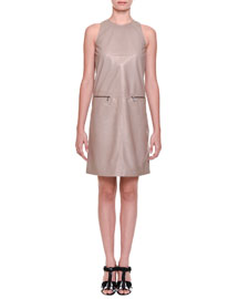 Leather Zip-Pocket Sheath Dress, Toffee