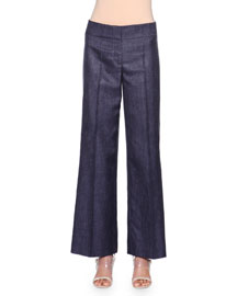 Wide-Leg Denim Trousers