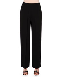 Pleated Silk Cady Cropped Pants, Black