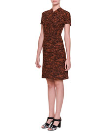 Short-Sleeve Crossover Jacquard Dress