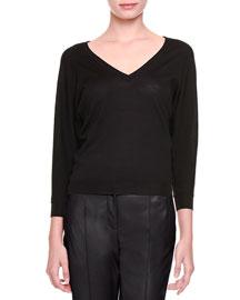 Merino Wool V-Neck Sweater, Nero