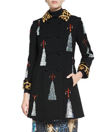 Embellished-Volcano Fur-Trimmed Coat, Black
