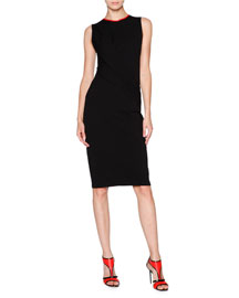 Leather-Trimmed Drape-Front Jersey Dress, Black