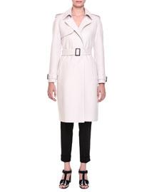 Belted Cashmere Trench Coat, Mist Melange