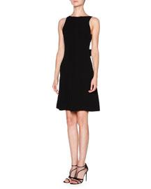 Silk Cady Bow-Back Dress, Black