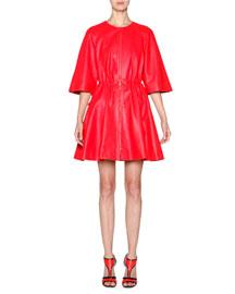 Napa Leather Raglan-Sleeve Jacket, Coral Red