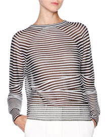 Cashmere-Blend Striped Long-Sleeve Top, Navy