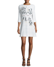 3/4-Sleeve Floral-Embroidered Tweed Dress, White