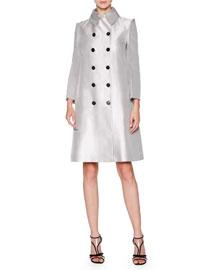 Reversible Silk-Blend A-Line Coat, Silver/Gray