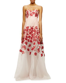 Raised-Floral Strapless Gown, Pink
