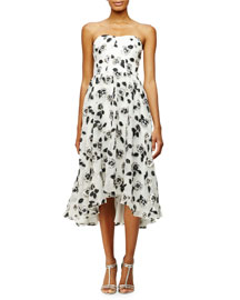 Strapless Stamped-Floral Dress, Ivory/Black