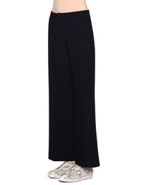 Flared-Leg Wool Pants, Navy