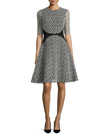 Dotted-Tulle Fit-and-Flare Dress, Black/Ivory