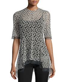 Dotted Tulle High-Low Top, Black/Ivory
