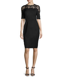 Short-Sleeve Lace-Inset Sheath Dress, Black