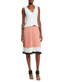 Sleeveless Colorblock Pleated-Skirt Dress, White