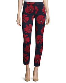 Poppy-Print Cropped Pants, Navy Pattern