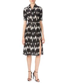 Ikat-Print Crepe de Chine Shirtdress, Black/White