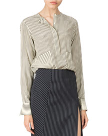 Pinstriped Silk Two-Pocket Long-Sleeve Top