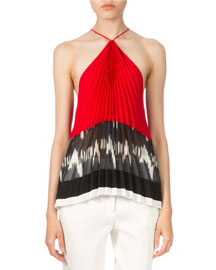 Pleated Chiffon Halter Top, Black/White