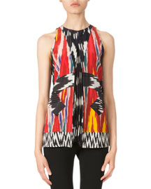 Printed Halter Silk Top with Pleats