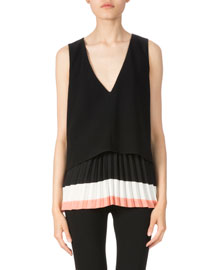 V-Neck Pleated Hem Top, Black