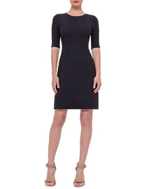 Half-Sleeve Wool-Crepe Dress, Black