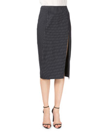 Pinstriped Slit Pencil Skirt, Navy/White