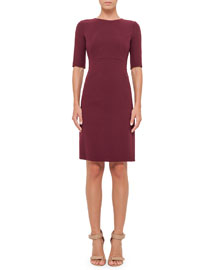 Half-Sleeve Double-Face Wool Dress, Dahlia