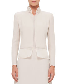 Long-Sleeve Wool-Crepe Mock-Neck Jacket, Ranunculus