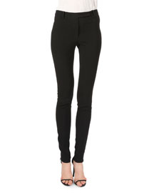 Skinny Zip-Cuff Pants, Black