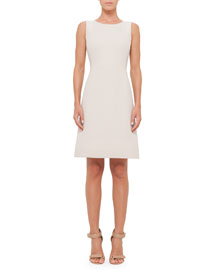 Sleeveless Jewel-Neck Wool-Crepe Dress, Ranunculus