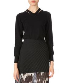 Merino Wool Cutout-Neck Sweater, Black